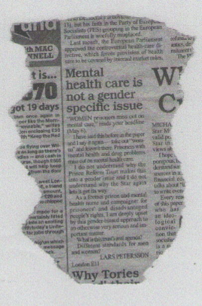 Mental health care is not a gender specific issue